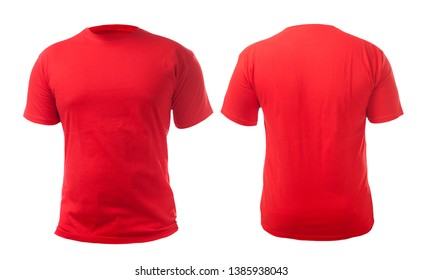Red t-shirt mock up, front and back view, isolated. Plain red shirt mockup. Tshirt design template. Blank tee for print