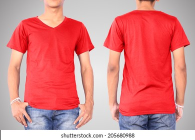 Red t-shirt on a young man template isolated on white background back and front. This has clipping path.