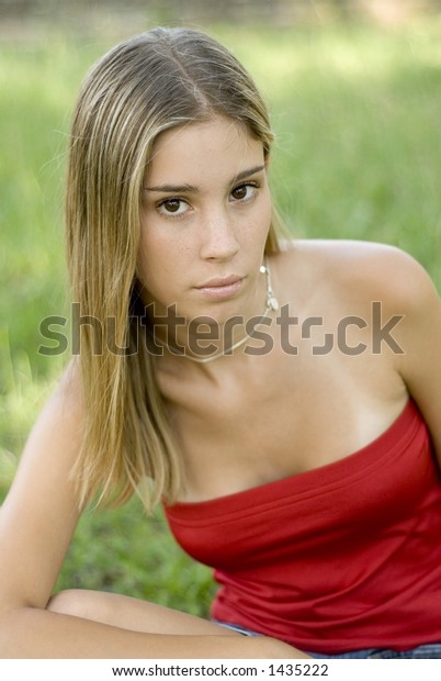 red tube top blond in the park