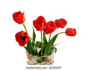 Red tulips in a vase, Insulation