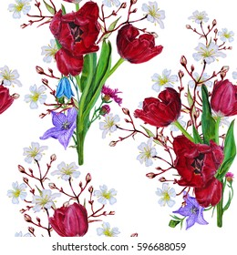 Red tulips and wildflowers. Seamless watercolor floral isolated pattern