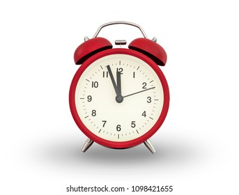 The red twin bell alarm clock ,London alarm clock show few minute to 12 o'clock on white background