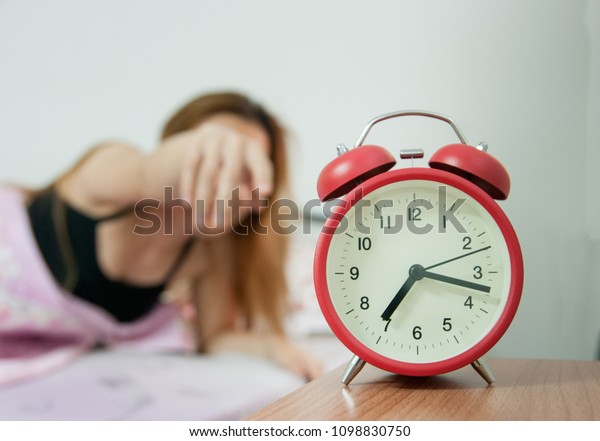 Red Twin Bell Alarm Clock Bed Stock Photo (Edit Now) 1098830750