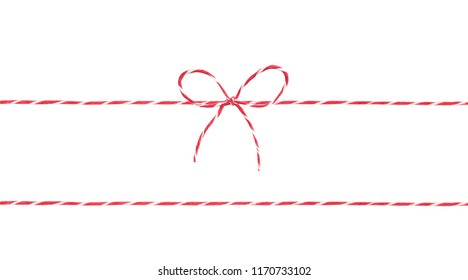 Red twine rope isolated,christmas package decor string with bow.