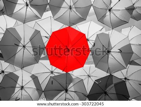 Red Umbrella Black White Color Umbrellas Stock Photo Edit Now