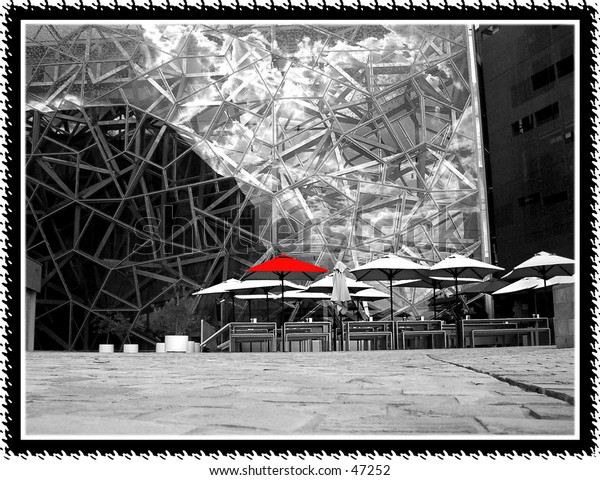 Red umbrella Foundation Square Melbourne