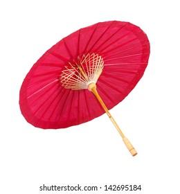 Red umbrella handmade on white background