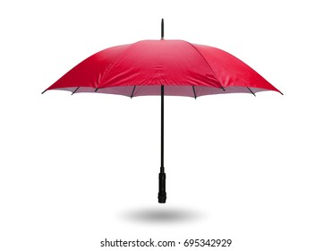 Red umbrella isolated on white background with clipping path.