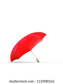 Red umbrella on white background,3d rendering
