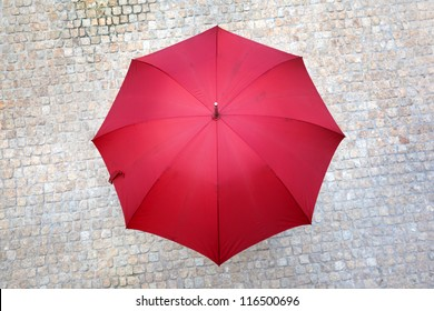 Red umbrella outdoors