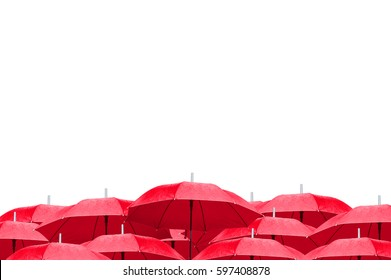 The red umbrellas on white background. side view