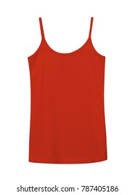 Red underwear sleeveless empty summer t shirt camisole isolated on white