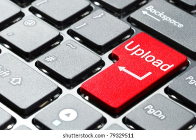 Red upload button on the keyboard