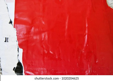 red urban poster texture, street poster that has been torn