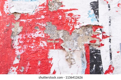red urban wall with old vintage graffiti, new york street appeal background