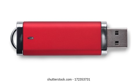 Red USB memory stick isolated on white
