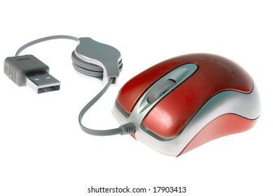 Red usb mini mouse on a white background