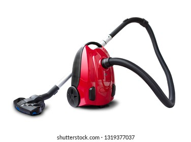 Red vacum cleaner isolated on white