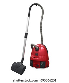 Red Vacuum Cleaner Isolated. 3D rendering