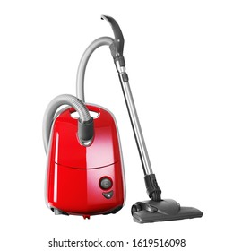 Red Vacuum Cleaner Isolated on White. Hoover with Ultra-Low Noise Level & Motor Protection System. House Cleaning Equipment Tool. Electric Major Domestic Appliances. Household and Home Appliance