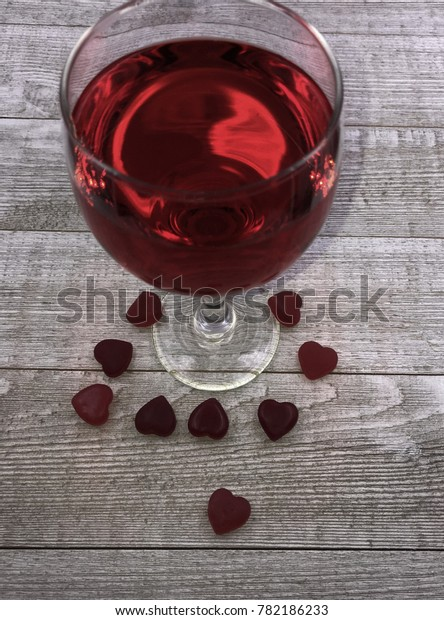 Red Bases For Living Room Decor: Red Valentine Candy Hearts Base Wine Stock Photo (Edit Now