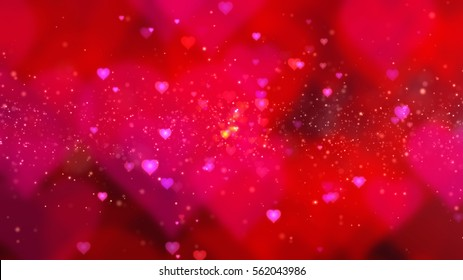 Red Valentine Flowing Hearts and Particles