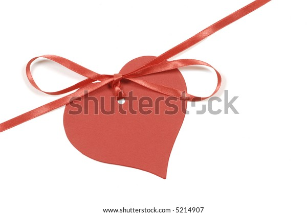 Red valentine heart shape gift tag and ribbon