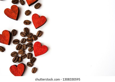 Red Valentines day heart background and coffee beans on white