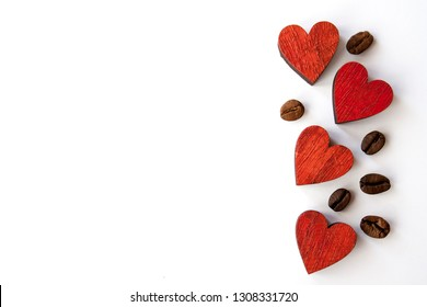 Red Valentines day heart background and coffee beans on white . With space for text.