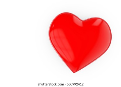Red valentines day love heart background 3D rendering