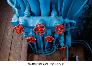 red valve on a blue background. Cabin of the old train for a couple.