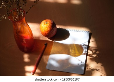 Red vase with dried flowers, notepad, pencil, orange on  neutral background casting shadows . Workplace. Minimal retro interior decoration concept. wabi sabi style aesthetics