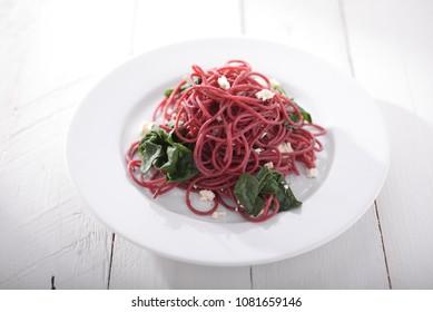 red vegan spaghetti