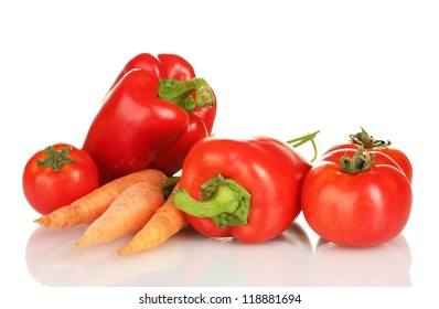 Red vegetables isolated on white
