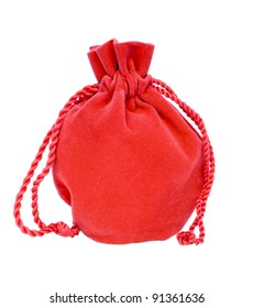 Red velvet bag isolated on white background