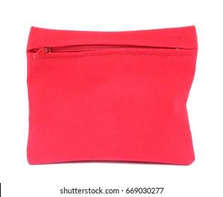 Red velvet bag with zipper isolated on white background