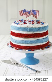 Red velvet and Blueberry cake decorated with American flags