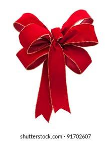 Red Velvet Bow isolated on a white background