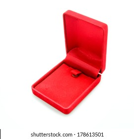 Red velvet box on white background,Open