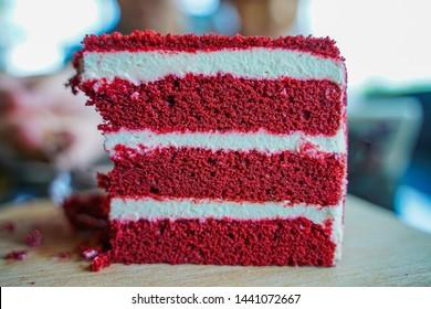 Red velvet cake was eaten. Closeup cake.