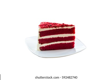 Red velvet cake isolate background
