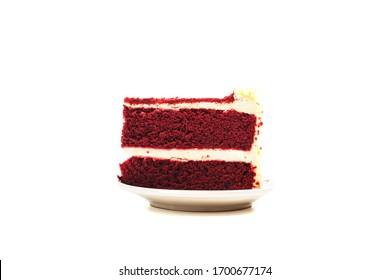 Red velvet cake isolate on white background