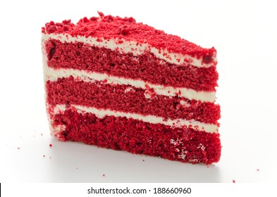 Red velvet cake isolated on white background