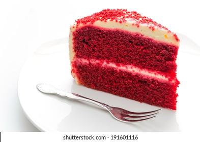 Red velvet cake isolated on white