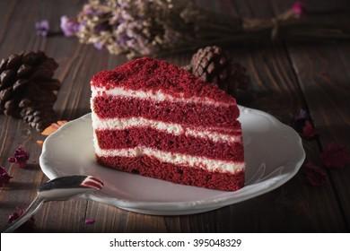 Red velvet cake on wood board