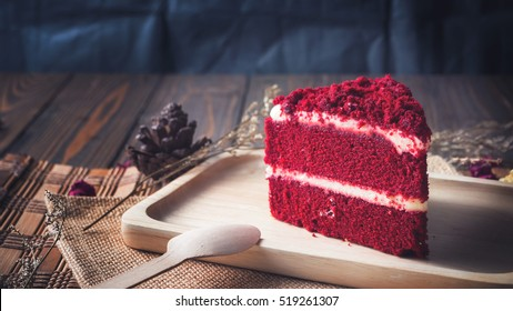 Red velvet cake on wood board