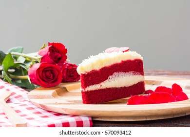 red velvet cake and red roses decoration on the table  for valentine's day