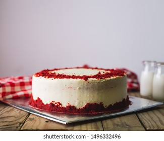 Red Velvet cake in a rustic background