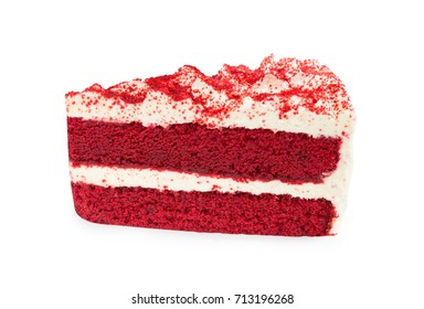 Red Velvet Cake sliced in piece isolated on white background (Clipping Path included), close-up shot (big cake) for X'mas season, new year, Valentines day or special holidays celebration