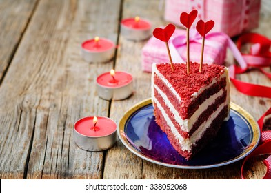 Red velvet cake for Valentines day. the toning. selective focus